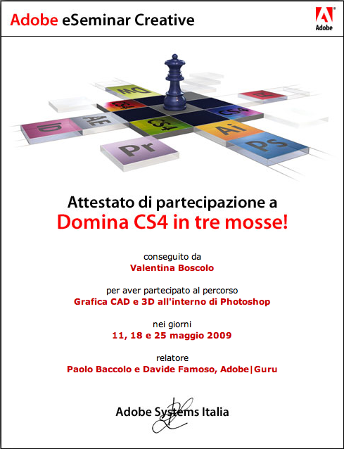 certificazione Adobe Grafica CAD e 3D in Photoshop