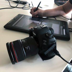 Wacom e Mobile Studio Pro con Canon Eos 5D presso Diesel